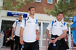 St Johnstone v Eskisehirspor....18.07.12  Uefa Cup Qualifyer.Chris Millar and Paddy Cregg leave Eskisehir airport.Picture by Graeme Hart..Copyright Perthshire Picture Agency.Tel: 01738 623350  Mobile: 07990 594431
