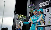 Liege-Bastogne-Liege 2012.98th edition..teammates Maxim Iglinskiy (1st) & Enrico Gasparotto (3rd) happy on the podium