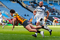 25th April 2021; Ricoh Arena, Coventry, West Midlands, England; English Premiership Rugby, Wasps versus Bath Rugby; Michael Le Bourgeois of Wasps dives for his team's third try after 46 minutes (22-8)