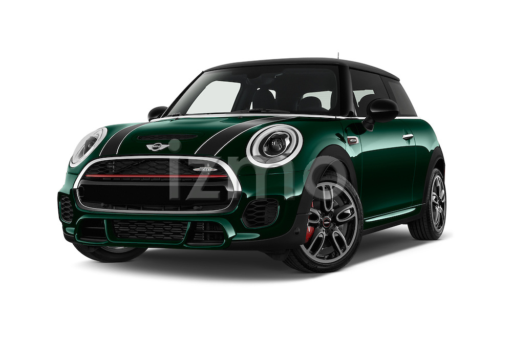 Stock pictures of low aggressive front three quarter view of 2016 MINI MINI JCW 3 Door Hatchback Low Aggressive