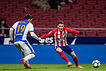 Kevin Gameiro (R) of Atletico de Madrid is tackled by Ezequiel Matias Munoz of CD Leganes during the La Liga 2017-18 match between Atletico de Madrid and CD Leganes at Wanda Metropolitano on February 28 2018 in Madrid, Spain. Photo by Diego Souto / Power Sport Images