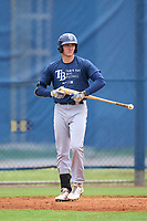 Tampa Bay Rays Beau Brundage bats during an Extended Spring Training intrasquad game on June 15, 2021 at Charlotte Sports Park in Port Charlotte, Florida.  (Mike Janes/Four Seam Images)