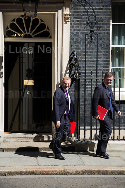 David Mundell MP (Secretary of State for Scotland) & David Gauke MP (Chief Secretary to the Treasury).<br /> <br /> London, 19/07/2016. First Cabinet meeting at 10 Downing Street (after the EU Referendum and consequent David Cameron's resignation) for the new Prime Minister Theresa May and her newly formed Conservative Government.<br /> <br /> For more information about the Cabinet Ministers: https://www.gov.uk/government/ministers