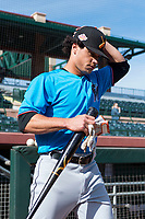 Salt River Rafters infielder Bryson Brigman (15), of the Miami Marlins organization, during batting practice before the Arizona Fall League Championship game against the Peoria Javelinas at Scottsdale Stadium on November 17, 2018 in Scottsdale, Arizona. Peoria defeated Salt River 3-2 in extra innings. (Zachary Lucy/Four Seam Images)