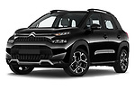 Stock pictures of low aggressive front three quarter view of 2022 Citroen C3-Aircross Shine 5 Door SUV Low Aggressive