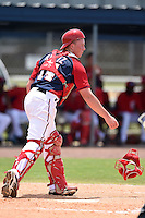 GCL Nationals catcher Jakson Reetz (14) throws down to second in between innings during a game against the GCL Marlins on June 28, 2014 at the Carl Barger Training Complex in Viera, Florida.  GCL Nationals defeated the GCL Marlins 5-0.  (Mike Janes/Four Seam Images)