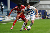 Middlesbrough's Djed Spence battles for possession with Queens Park Rangers' Lee Wallace<br /> <br /> Photographer Stephanie Meek/CameraSport<br /> <br /> The EFL Sky Bet Championship - Queens Park Rangers v Middlesbrough - Saturday 26th September 2020 - Loftus Road - London <br /> <br /> World Copyright © 2020 CameraSport. All rights reserved. 43 Linden Ave. Countesthorpe. Leicester. England. LE8 5PG - Tel: +44 (0) 116 277 4147 - admin@camerasport.com - www.camerasport.com