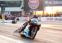 Oct 11, 2019; Concord, NC, USA; NHRA pro stock motorcycle rider Jianna Salinas during qualifying for the Carolina Nationals at zMax Dragway. Mandatory Credit: Mark J. Rebilas-USA TODAY Sports