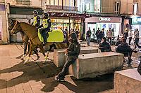 """FRANKREICH, 26.11.2015, Paris.  Der Vorort-Bezirk Saint-Denis ist gepraegt durch seine vielen muslimischen Zuwanderer. Hier liegt das """"Stade de France"""", einer der Orte der Terroranschlaege vom 13.11 und hier lieferte sich die Polizei die schwere Schiesserei mit einigen der beteiligten Islamisten am 18.11. - Berittene Polizei.   The suburban district of Saint-Denis is characterized by its dense muslim immigrant population. Here """"Stade de France"""" is located, one of the places of the Paris terrorist attacks on Nov. 13 and here the police had a heavy shootout with some of the islamists involved on Nov. 18. - Police on horseback.<br /> � Arturas Morozovas/EST&OST"""