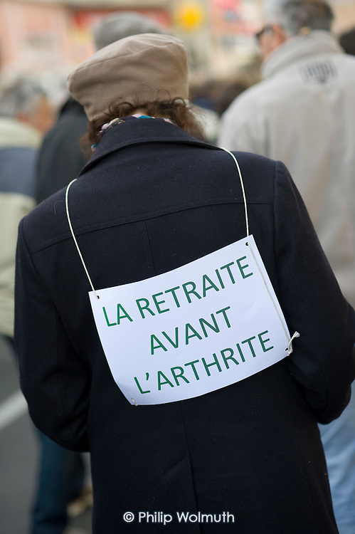 Retirement Before Arthritis. Workers and students in the ex-coalmining town of Alès, in southern France, join a day of nationwide protest against the Sarkozy government's proposed pension reforms.
