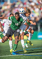 24 September 2016: Dartmouth College Big Green Forward Eduvie Ikoba, a Sophomore from Bettendorf, Iowa, battles University of Vermont Catamount Defender Arnar Steinn Hansson, a Freshman from Garðabær, Iceland, at Virtue Field in Burlington, Vermont. The teams played to an overtime 1-1 tie in front of an Alumni Weekend crowd of 1,710 fans. Mandatory Credit: Ed Wolfstein Photo *** RAW (NEF) Image File Available ***