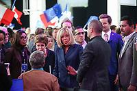 BRIGITTE MACRON (SON EPOUSE) - MEETING DE MACRON AU PARIS EVENT CENTER, PORTE DE LA VILLETTE A PARIS, FRANCE, LE 01/05/2017.