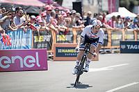 European TT champion Victor Campenaerts (BEL/Lotto-Soudal) off the start podium<br /> <br /> Stage 21 (ITT): Verona to Verona (17km)<br /> 102nd Giro d'Italia 2019<br /> <br /> ©kramon