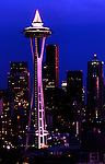 Skyline of Seattle, Washington shows tall downtown buildings and Space Needle.
