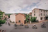team SKY / yellow jersey / Geraint Thomas (GBR/SKY) rolling through town<br /> <br /> Stage 15: Millau > Carcassonne (181km)<br /> <br /> 105th Tour de France 2018<br /> ©kramon