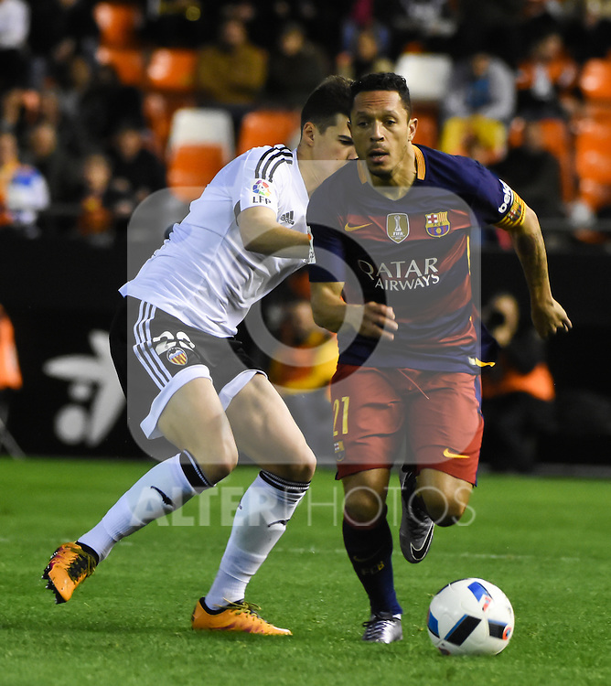 Valencia's Santi Mina   and FC Barcelona's Adriano  during Spanish King's Cup match. February 10, 2016. (ALTERPHOTOS/Javier Comos)