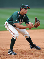Infielder Ryan Fisher (21) of the Greensboro Grasshoppers, Class A affiliate of the Florida Marlins, in a game against the Greenville Drive on April 25, 2011, at Fluor Field at the West End in Greenville, S.C. Photo by Tom Priddy / Four Seam Images