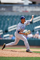 Pensacola Blue Wahoos relief pitcher Brennan Bernardino (33) delivers a pitch during a game against the Birmingham Barons on May 9, 2018 at Regions Field in Birmingham, Alabama.  Birmingham defeated Pensacola 16-3.  (Mike Janes/Four Seam Images)