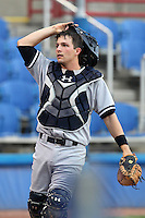 Tampa Yankees catcher J.R. Murphy #30 during a game against the Dunedin Blue Jays at Dunedin Stadium on April 28, 2012 in Dunedin, Florida.  Dunedin defeated the Yankees 6-1.  (Mike Janes/Four Seam Images)