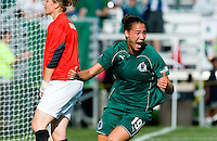 Saint Louis Athletica defender Nikki Cross (19) celebrates a goal during a WPS match at Anheuser-Busch Soccer Park, in St. Louis, MO, July 26, 2009. The match ended in a 1-1 tie.