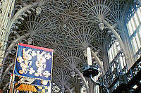 Detail of Henry VII Chapel with its pendant fan vault ceiling. Located at  far eastern end of Westminster Abbey, London, England.