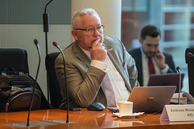 """8. Sitzung des Untersuchungsausschusses """"PKW-Maut"""" des Deutschen Bundestag am Donnerstag den 13. Februar 2020.<br /> Der Ausschuss wurde zur Aufklaerung der Mautvertraege zwischen dem Verkehrsministerium unter Leitung von Andreas Scheuer (CSU) und den Firmen Kapsch und CTS Eventim eingerichtet.<br /> Der Maut-Untersuchungsausschuss soll das Verhalten der Regierung und besonders des Verkehrsministers bei der Vorbereitung und der Vergabe der Betreibervertraege """"umfassend aufklaeren"""".<br /> Als Zeuge fuer die Sitzung war Bundesminister a.D. Dr. Peter Ramsauer (CSU) geladen.<br /> Im Bild: Andreas Mrosek Mitglied der Bundestagsfraktion der rechtsextremen """"Alternative fuer Deutschland"""", AfD.<br /> 13.2.2020, Berlin<br /> Copyright: Christian-Ditsch.de<br /> [NUR FUER REDAKTIONELLE ZWECKE! Werbung nur auf Anfrage beim Fotografen. Inhaltsveraendernde Manipulation des Fotos nur nach ausdruecklicher Genehmigung des Fotografen. Vereinbarungen ueber Abtretung von Persoenlichkeitsrechten/Model Release der abgebildeten Person/Personen liegen nicht vor. NO MODEL RELEASE! Don't publish without copyright Christian-Ditsch.de, Veroeffentlichung nur mit Fotografennennung, sowie gegen Honorar, MwSt. und Beleg. Konto: I N G - D i B a, IBAN DE58500105175400192269, BIC INGDDEFFXXX, Kontakt: post@christian-ditsch.de<br /> Bei der Bearbeitung der Dateiinformationen darf die Urheberkennzeichnung in den EXIF- und  IPTC-Daten nicht entfernt werden, diese sind in digitalen Medien nach §95c UrhG rechtlich geschuetzt. Der Urhebervermerk wird gemaess §13 UrhG verlangt.]"""