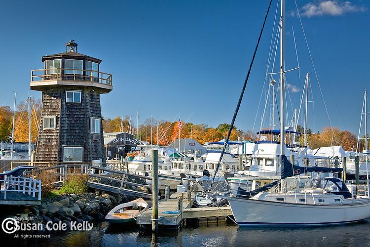 Fall foliage colors a marina in Essex, CT, USA