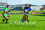 Tony Brosnan, Kerry in action against Jeaic McKelvey, Donegal and Brendan McCole, Donegal during the Allianz Football League Division 1 Round 7 match between Kerry and Donegal at Austin Stack Park in Tralee on Saturday.