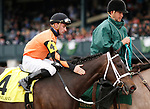 LEXINGTON, KY - April 14, 2018. #4 Triple Chelsea and jockey Adam Beschizza win the 22nd running of The Giant's Causeway (Listed) $100,000 for owner Brad Grady and trainer Joe Sharp at Keeneland Race Course.  Lexington, Kentucky. (Photo by Candice Chavez/Eclipse Sportswire/Getty Images)