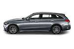 Car Driver side profile view of a 2022 Mercedes Benz C-Class AMG-Line 5 Door Wagon Side View