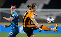 Hull City's Tom Eaves vies for possession with Grimsby Town's Max Wright<br /> <br /> Photographer Alex Dodd/CameraSport<br /> <br /> EFL Papa John's Trophy - Northern Section - Group H - Hull City v Grimsby Town - Tuesday 17th November 2020 - KCOM Stadium - Kingston upon Hull<br />  <br /> World Copyright © 2020 CameraSport. All rights reserved. 43 Linden Ave. Countesthorpe. Leicester. England. LE8 5PG - Tel: +44 (0) 116 277 4147 - admin@camerasport.com - www.camerasport.com