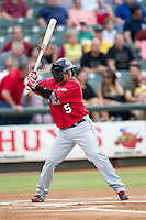 Oklahoma City RedHawks third baseman Ronny Torreyes (5) at bat during the Pacific Coast League baseball game against the Round Rock Express on August 1, 2014 at the Dell Diamond in Round Rock, Texas. The Express defeated the RedHawks 6-5. (Andrew Woolley/Four Seam Images)