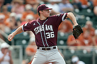 Texas A&M Aggies pitcher Ross Stripling #36 delivers during the NCAA baseball game against the Texas Longhorns on April 28, 2012 at UFCU Disch-Falk Field in Austin, Texas. The Aggies beat the Longhorns 12-4. (Andrew Woolley / Four Seam Images)...