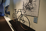 Bianchi track bike from 1899 ridden to victory by Giovanni Ferdinando Tommaselli in the Grand Prix de Paris 1899 on dispaly in reception Bianchi Factory, Treviglio, Italy. 30th September 2015.<br /> Picture: Eoin Clarke | Newsfile