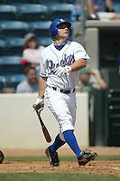 Reggie Willits of the Rancho Cucamonga Quakes bats during a 2004 season California League game at The Epicenter in Rancho Cucamonga, California. (Larry Goren/Four Seam Images)