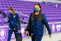 ORLANDO, FL - JANUARY 18: Sophia Smith #25 of the USWNT walks into the venue before a game between Colombia and USWNT at Exploria Stadium on January 18, 2021 in Orlando, Florida.