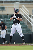 Jake Burger (31) of the Kannapolis Intimidators at bat against the Hagerstown Suns at Kannapolis Intimidators Stadium on July 10, 2017 in Kannapolis, North Carolina.  The Suns defeated the Intimidators 8-5.  (Brian Westerholt/Four Seam Images)