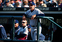 SAN FRANCISCO, CA:  Manager Bruce Bochy of the San Diego Padres stands in the dugout during a game against the San Francisco Giants at Pacific Bell Park in San Francisco, California in 2002. (Photo by Brad Mangin)