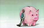 Illustrative image of senior man leaning on piggy bank representing retirement fund