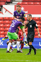 3rd October 2020; City Ground, Nottinghamshire, Midlands, England; English Football League Championship Football, Nottingham Forest versus Bristol City; Taylor Moore of Bristol City jumps on Zak Vyner as the whistle blows to celebrate winning 2-1