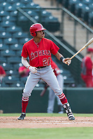 AZL Angels center fielder Jordyn Adams (21) at bat during an Arizona League game against the AZL Diamondbacks at Tempe Diablo Stadium on July 16, 2018 in Tempe, Arizona. The AZL Diamondbacks defeated the AZL Angels by a score of 4-3. (Zachary Lucy/Four Seam Images)