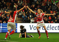 20131009 - LIEGE , BELGIUM : Standard's Tessa Wullaert (right) pictured celebrating the 1-0 scored by Vanity Lewerissa (left) during the female soccer match between STANDARD Femina de Liege and GLASGOW City LFC , in the 1/16 final ( round of 32 ) first leg in the UEFA Women's Champions League 2013 in stade Maurice Dufrasne - Sclessin in Liege. Wednesday 9 October 2013. PHOTO DAVID CATRY