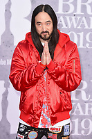 Steve Aoki<br /> arriving for the BRIT Awards 2019 at the O2 Arena, London<br /> <br /> ©Ash Knotek  D3482  20/02/2019<br /> <br /> *images for editorial use only*