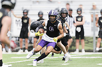 Fayetteville wide receiver Isaiah Sategna carries the ball, Thursday, July 15, 2021 during the Southwest Elite 7on7 tournament at Shiloh Christian in Springdale. Check out nwaonline.com/210716Daily/ for today's photo gallery. <br /> (NWA Democrat-Gazette/Charlie Kaijo)