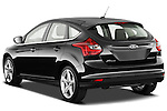 Rear three quarter view of a 2012 Ford Focus Hatchback Titanium Stock Photo