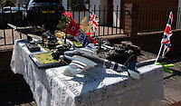 Models of  WW2 tanks and aircraft in Sidcup, Kent, England 8th May 2020. Victory in Europe (VE) 75th Anniversary Celebrations during the UK Lockdown due to the Coronavirus pandemic. Photo by Alan Stanford / PRiME Media Images