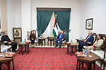 Palestinian president Mahmoud Abbas meets with Captain of Engineers, Mrs. Nadia Habash, in the West Bank city of Ramallah on October 10, 2021. Photo by Thaer Ganaim