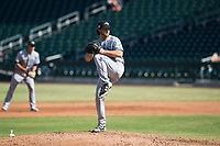 Peoria Javelinas relief pitcher Phoenix Sanders (52), of the Tampa Bay Rays organization, delivers a pitch during an Arizona Fall League game against the Mesa Solar Sox at Sloan Park on October 24, 2018 in Mesa, Arizona. Mesa defeated Peoria 4-3. (Zachary Lucy/Four Seam Images)