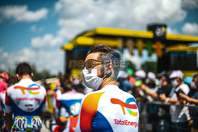 Anthony Turgis (FRA) TotalEnergies at sign on before Stage 6 of the 2021 Tour de France, running 160.6km from Tours to Chateauroux, France. 1st July 2021.  <br /> Picture: A.S.O./Pauline Ballet   Cyclefile<br /> <br /> All photos usage must carry mandatory copyright credit (© Cyclefile   A.S.O./Pauline Ballet)