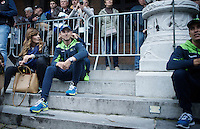 Alejandro Valverde (ESP/Movistar) & son playing while waiting for the team presentation to start<br /> <br /> Team Presentation; 1 day ahead of the 101th Liège-Bastogne-Liège 2015